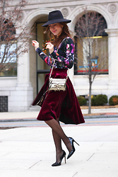 Beauty Mark Lady - Maje Skirt, Rebecca Minkoff Crossbody, Ivanka Trump Heels, Ted Baker Sweater - VELVET REVIVAL: THE FALL TREND 2015