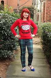 Jamie Rose - Lol Vintage Red Fleece Navidad Christmas Sweater, Old Navy Green Plaid Skinny Trousers, Delia's Blue Pointed Flats - Styling a Tacky Christmas Sweater