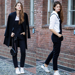 Jacky - Cos Coat, Rebecca Minkoff Bag, Adidas Sneaker - Denim Overall