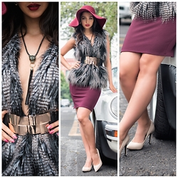Kristina Byrne - H&M Vest, Studio F Jaguar Necklace, Bershka Pencil Skirt, Zara Heels - Hello Burgundy...