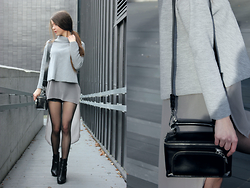 Velvetindustry - Zara Long Blouse, Bershka Shorts, H&M Shoes, Zara Bag - Industrial grey