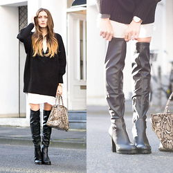 Lisa Fiege - Buffalo Overknee Boots, Peter Kaiser Bag, Monki Knit Sweater - The Perfect Overknee Boots