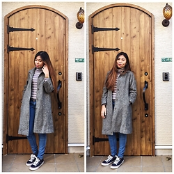 Aprille Rose - Thrifted Gray Coat, Thrifted Striped Turtleneck, Bershka Blue Jeans, Converse Sneakers - Laidback Sunday