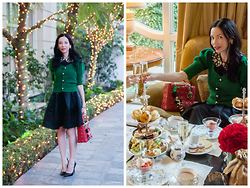 Lisa Valerie Morgan - Anthropologie Sweater, Nasty Gal Skirt, Zara Pumps, Christian Dior Bag - Afternoon Tea at The Peninsula Beverly Hills