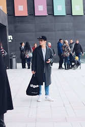 Kevin Elezaj - Adidas Sneakers, H&M Jeans, Topman Coat, H&M Sweater, Tigha Bag, Asos Glasses, Obey Cap - December