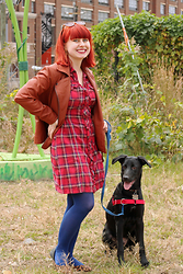 Jamie Rose - Asos Brown Faux Leather Jacket, Target Red Plaid Shirt Dress, Forever 21 Blue Tights, Delia's Leopard Print Flats - Red Plaid Shirt Dress