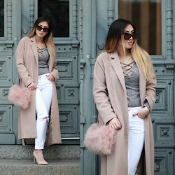 Louise Xin - Sammydress Grey Lace Up Top, Kappahl Camel Coat, Pellobello Fluffy Bag, Asos Nude Pumps - Outside the grey door