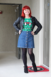 Jamie Rose - Ashley By Twenty Six International Black Leather Jacket, Lol Vintage Green Penguin Sweater, Asos Denim Button Down Skirt, Black Tights, Target Black Wedge Ankle Boots - Tacky Penguin Sweater