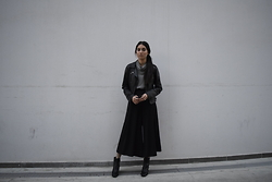 Eraclia Skoufari - The Fifth Labeil Black Culottes, Ankle Boots, Vintage Leather Jacket - Essentials