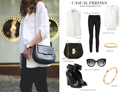 Zori Ivanova - Lanvin Sleeveless Vest In Linen, 7 For All Mankind Black Skinny Jeans, Helmut Lang Silk Blouse, Chloé Leather Purse, Dolce & Gabbana Sunglasses, Repossi Ring, Cartier Bracelet, Laurence Dacade Leather Sandals - CASUAL FRIDAYS