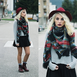 Cátia Gonçalves - Cndirect Mini Skirt, Stradivarius Hat, Dr. Martens Docs, Chicnova Sweater, Street Market Scarf - Come away with innocence And leave me with my sins