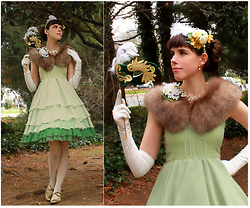 Tyler H - Handmade Green Chiffon Jsk, Vintage Elbow Length Gloves, Ebay Cream Lace Tights, Hotter Gold Heels, Handmade Green Velvet Mask, Handmade Wildflower Corsage, Lisner Dogwood Necklace, Lotvdesigns Feathered Headdress, Vintage Amber Fox Fur - The Masquerade