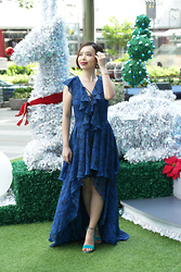 Prudence Yeo -  - Lace-Up Hi-low Dress For the Festive Season