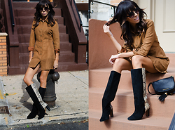 Lovelyimperfect by Adriana Kubieniec - Mustard Seed Suede Dress, Zara Boots, Forever 21 Sunglasses, Marc By Jacobs Bag - SUEDE dress, Ridgewood NYC