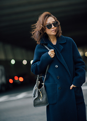 Diana Z Wang - Vince Coat, Saint Laurent Bag, Illesteva Sunnies - Navy Coat