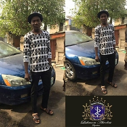 Lukmon Awolesi - Perfect Clothing Black Leather Hat, Perfect Clothing Long Sleeve U Neck Top (I Design And Made This Myself), Perfect Clothing Black Pant (I Design And Made This Myself), Gucci Black And Brown Leather Slippers - Pursue your passion and never stop trying.