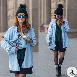 Diana Manolova - H&M Top, Stradivarius Skirt, H&M Boyfriend's Denim Shirt, American Apparel Denim Clutch, Pimkie Beanie, Inshoes High Heeled Ankle Boots - Chilled Loose Christmas