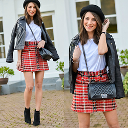 Stephanie Van Klev - Otto Hat, Reserved Leatherjacket, Topshop Plaid Skirt, Chanel Boybag, French Connection Uk Ankle Boots - A Plaid Skirt
