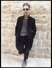 Riccardo Loconte - Police Vintage Sunglasses, Black Coat, H&M Grey Sweather, Black Pince Trousers - Back in Town
