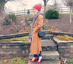 Lindsey Simon - Sheinside Camel Coat, Penny Loves Kenny Red Heels, H&M Scarf, Forever 21 Black Studded Purse, Target Red Beanie - Christmas in Pittsburgh