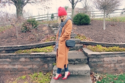 Lindsey Simon - Sheinside Camel Coat, H&M Black And White Scarf, Forever 21 Studded Black Purse, Target Red Beanie - Cozy in the Christmas Cold