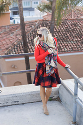Kylee Snelgrove - Banana Republic Orange Sweater, Shein Plaid Skirt, Asos Plaid Scarf, Steve Madden Nude Heel - Plaid.