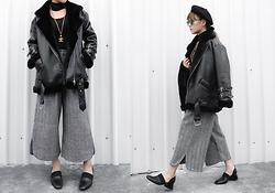 Vita Chen - Vii & Co. Velvet Neck Metal Sleeve Coat, Vii & Co. Faux Woolen Stretch Ankle Wide Pants, Chanel Vintage Necklace, Vii & Co. Faux Wool Simple Beret - Leave