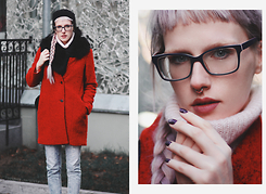 Anna Jaroszewska - Reserved Red Coat, Diverse Boyfriend Jeans, Vintage Wool Sweater, Mohito Furry Scarf, Onestreet.Pl Septum Clicker - Warm heart