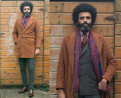 Dualleh Abdulrahman - Cosmen Silk Double Breasted Blazer, Van Gils Cashmere Diy Coat, Santoni Cognac One Strap Monks, Sears Roebuck Chambray Pink Shirt - Stay Frosty