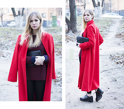 Anya Rise - Romwe Coat, Romwe Sweater, Romwe Leggings, Vagabond Boots - Red coat