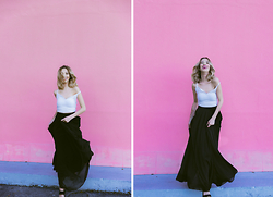 Marivette Navarrete - Lucy Black Chiffon Flowy Maxi Skirt - To the Max
