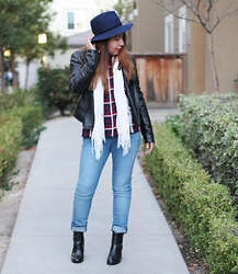 Tania F. - H&M Plaid Shirt, H&M Skinny Jeans, Gap Boots, Nordstrom Wool Hat - Stay Warm In Layers