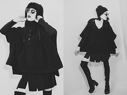 Ama Hatheway - Black Cotton Beanie, Polette Intuition Metal Framed Sunglasses, Zeagoo Black Long Sleeved Top Slit V Neck, Obey Black Hooded Poncho, Piecy Pleated Black Vintage Mini Skirt, River Island Black Cleated Platform Over The Knee Faux Suede Boots - Black Volume Comfort