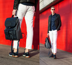 Oliver Lips - Pedro Sneakers, Pedro Tweed & Leather Backpack - RED