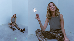 Marivette Navarrete - Tres Bien Striped Brandy Black And White Muscle T Shirt, 36.5 Sequined Gold Pants - Sequins + Sparks