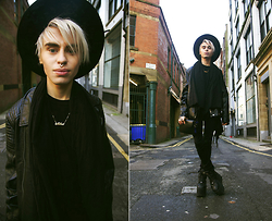 Milex X - Lesara Jacket, Topman Hat, Zara Pants, Buffalo Boots, Onecklace Necklace, Pauls Butique Clutch - PUT A DIAMOND IN IT