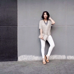 Aurelia Olivia - Loose Top, White Pants, Clutch, Wedges, Necklace - Grey // White