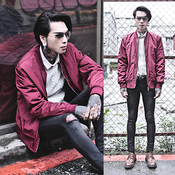 IVAN Chang - Tastemaker 達新美 Bomber Jacket, Topman Sweater, Asos Shirt, Asos Sunglasses, Asos Siperskinnyjeans - 301215 TODAY STYLE