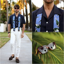 Filippo Fiora - Valentino Shirt, Valentino Scarf, Brooks Brothers Pants, Ralph Lauren Loafers, Celine Sunglasses - BEVERLY HILLS