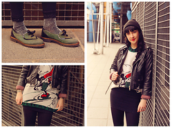 Anna Hurricane - Topshop Sparkly Socks, Forever 21 Lace Leggings, Kilo Shop Vintage Shoes, Vintage Knitted Jumper, H&M Pencil Skirt, Vintage Leather Jacket, Wasted Beanie -  Mickey mouse and sparkle socks