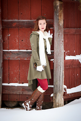 Lindsey Puls - Etsy Hooded Dress, Modcloth Tights, C&A Leather Wallet, Etsy Boot Cuffs - Handmade Treasures