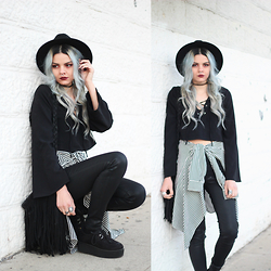 Mickylene Delgado - Carmar 3180 Wax High Rise Skinny Jean, Tobi Bandit Lace Up Crop Top With Bell Sleeves - Hello From The Dark Side