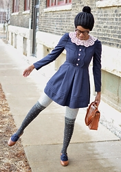Sushanna M. - Vintage Inspired Navy Dress, Black Winter Hat, Brown Braided Satchel, Snowflake Pattern Two Tone Tights, Brown Navy Oxford Flats - Come On, Let's Go