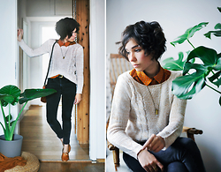 Sophia Mayrhofer - Cndirect Knit Pullover, Thrifted Vintage Gold Belt, H&M High Waisted Black Jeans, Fleamarket Vintage Leather Brogues, H&M Polka Dot Blouse, Salt And Sandstone Quarz Bullet Pendant Necklace - To Another Year