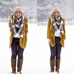 Rachel @Rachel's Lookbook - Forever 21 Faux Fur Beanie, Amazon Blanket Scarf, Shein Mustard Yellow Jacket, Justfab Coated Denim, Sorel Boots - Casual Winter Style