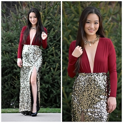 Kimberly Kong - Charlotte Russe Plunging V Neck Bodysuit, Boohoo Sequin Maxi Skirt, Candie's Black Platform Heels - Ringing in the New Year