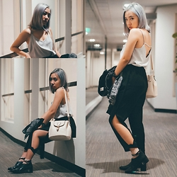 Sebelle Sharmine - The Closet Lover Grey Cami, Black Mesh Pants, Charles & Keith Buckle Dress Shoes, H&M Black Denim Jacket, Shopkysse Candy Buckle Bag - Grey, Silver – Cold Shoulder