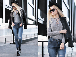 Krist Elle - Sheinside Knitted Sweater, Sheinside Ripped Knee Jeans, Zerouv Sunglasses, Biker Jacket - Gray knitted sweater