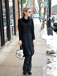 Dani Mikaela McGowan - Luna On The Moon Egg Purse, Gap Black Flared Jeans, Madewell Turtleneck Dress, Steve Madden Black Boots - Over Easy: A Brunch Look