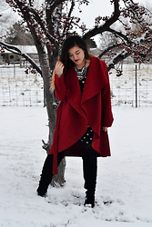 Linda B - Sheinside Burgundy Cape Coat - Coat of Dreams